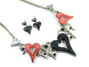 Gifts for Women Presents for Women Murano Passion Jewellery Sets For Women - Necklace & Earring Set - Pink & Grey Hearts - Includes Gift Box