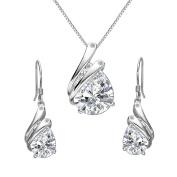 Clearine Women's 925 Sterling Silver Elegant Delicate Cubic Zirconia Teardrop Feather Pendant Necklace Hook Earrings Set