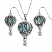 BellaMira Abalone - Guitar & Hot Air Balloon - Adventure & Music Theme Silver Plated Necklace & Earrings Paua Shell Jewellery Gift Boxed