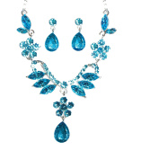Turquoise Blue Flower and Marquise Cut Gem Necklace and Earrings Jewellery Set