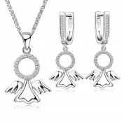 Sterling Silver 925 and Crystal Angel Protective Angel Necklace and Earrings Jewellery Set