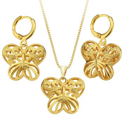 MESE London Butterfly Necklace And Earrings Set 18K Gold Plated Hollow Pendant - Elegant Gift Box