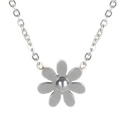 Traveller Treasures Silver-Tone Stainless Steel Daisy Pendant Necklace For Women
