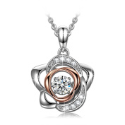 Dancing Heart Rose of Love 925 Sterling Silver Necklace for Women