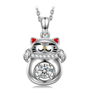 """Silver Pendant Necklace Dancing Heart """"Lucky Cat"""" 925 Sterling Silver Necklace for Women with Gift Box - Fine Jewellery, 5A CZ Pendant, Best Gift for Mom/Wife/Girlfriend!"""