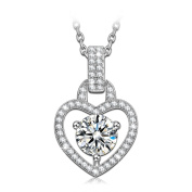 Dancing Heart Lock of Love 925 Sterling Silver Necklace for Women