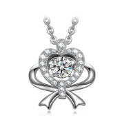 Dancing Heart Love Gift 925 Sterling Silver Necklace for Women