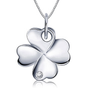 Heart Shaped Stack Four Leaf Clover 925 Sterling Silver Necklace 46cm Chain Women Girl Pendant Necklaces Lucky