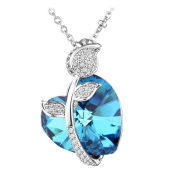 Le Premium® Rose Heart Pendant Necklace Made With Heart Shaped Crystals From -Crystal Bermuda Blue
