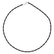 I Be Schwarzers Spinel Necklace/Chain Jet Black ø 3 mm 925 Sterling Silver with Lobster Clasp, Length 42 cm in Gift Box 446603/Black/Si 45