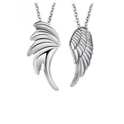 Couples Necklace His and Hers 925 Sterling Silver Angel Wings Pendant Necklaces,for Women 46cm & Men 50cm Chain,1 Pari