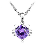 Cute Cat Kitty Head Pendant Necklace for Girls Women Kids,46cm Chain,Purple Cubic Zirconia, Synthetic June Birthstone