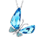 Silver Plated Necklace with Crystal Butterfly