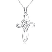 YFN Sterling Silver Celtic Cross Infinity Love Pendant Necklace,46cm