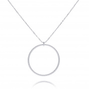 Pernille Corydon Women's Necklace Twisted Ball Chain Necklace 80 cm Glitter Ring Twist Pendant Silver 271S