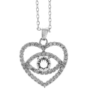18K White Gold Plated Necklace with 'Eye' Love You Design with a 41cm Extendable Chain and High Quality Crystals by Matashi