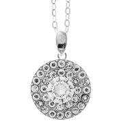 18K White Gold Plated Jewellery Pice with 'Three Concentric Circles' Design and High Quality Crystals by Matashi