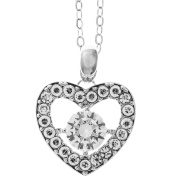 18K White Gold Plated Jewellery set with a Crystal Centred Heart Design and High Quality Crystals by Matashi