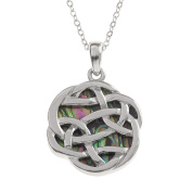 Kiara Jewellery Reversible Celtic Knot Pendant Necklace Inlaid With Greenish Paua Abalone Shell on 46cm Trace Chain. Non Tarnish Silver Colour Rhodium plated.