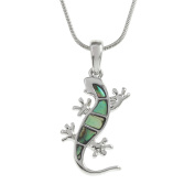 Kiara Jewellery Gecko Pendant Necklace Inlaid With Natural greenish blue Paua Abalone Shell on 46cm Snake Chain. Non Tarnish Silver Colour Rhodium plated.