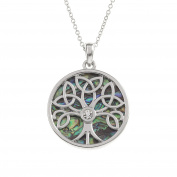 Kiara Jewellery Reversible Celtic Tree Of Life Pendant Necklace Inlaid With Bluish Green Paua Abalone Shell with inset glass stone on 46cm Trace Chain. Non Tarnish Silver Colour Rhodium plated.
