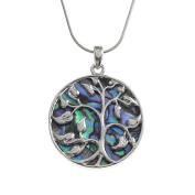 Kiara Jewellery Reversible Celtic Tree Of Life Pendant Necklace Inlaid Both Sides With Bluish Green Paua Abalone Shell on 46cm Snake Chain. Non Tarnish Silver Colour Rhodium plated.