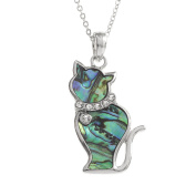 Kiara Jewellery Cat Pendant Necklace Inlaid With Natural greenish blue Paua Abalone Shell with glass stones inset collar on 46cm Trace Chain. Non Tarnish Silver Colour Rhodium plated.