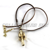Vintage brass cannon in leather cord necklace unisex fashion jewelery 2017 gifts
