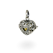 Nklaus Heart Locket 925 Sterling Silver Angel Caller Pendant with Melody Ball Freja 7377