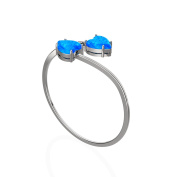 LANMPU 925 Sterling Silver Created Blue Fire Opal Resizeable Rings Rhodium Plating for Women and Girls