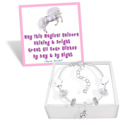 Girls Magical Unicorn White Leather Charm Bracelet Set with Greeting Card and Gift Box Kids Jewellery