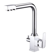 [Drinking Water Kitchen Tap] Hapilife Commercial Chrome Solid Brass Single Hole Double Handles 3 Way Water Filter Square Swivel Spout Sink Mixer Tap