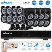 Kkmoon 16 Channel Cctv Dvr Camera System With 8x Dome & 8x Bullet Cameras 1080p