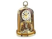Rhythm Gold Tones Rotating Christmas Tree Inspired Pendulum Mantel Clock