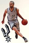 Tony Parker Mini Fathead + Spurs Logo Official NBA Vinyl Wall Graphics 18cm