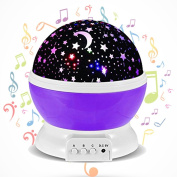 Gerhannery Star Light for Kid with 12 Soft Music Star Night Light Projector Sensory Lights 360 Degree Romantic Projector Lamp for Children Baby Room Decor Children Birthday Gift for Kid Night Light Purple