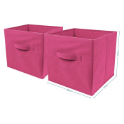 Top Home Solutions Pack of 2 Large Foldable Square Canvas Cube Storage Box Collapsible Fabric Cubes Kids Bedroom Office