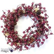 *gisela Graham Traditional Christmas Twig Wreath Festive Berry Wall Decoration*
