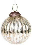 Insideretail Antique Effect Christmas Hanging Ball Decoration, Glass, Silver, Of