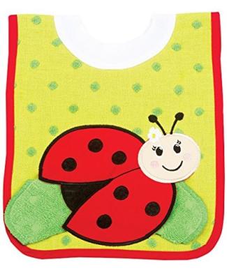AM PM Kids! Pullover Bib with Wash Cloth, Ladybug