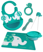 Marcus & Marcus OLLIE THE ELEPHANT Silicone Baby Feeding 6 Pack - Green