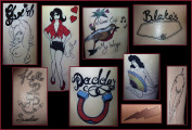 Amy Winehouse Large Fancy Dress Temporary Tattoos, Costume Outfit Party Accessories by Top Tats. Festival,Fun,Dress Up,60's Beehive