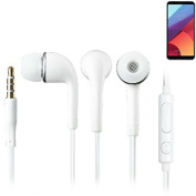 In Ear Headphones for LG Electronics G6+, with microphone + volume control, white | 3.5mm earplugs omnidirectional microphone, headphone Studs stereo headset universal application headphone volume con