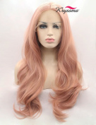 K'ryssma Fashion Orange Pink Lace Wig Mixed Colour Glueless Long Natural Wavy Middle Part Synthetic Lace Front Wigs For Women Half Hand Tied Heat Resistant 60cm
