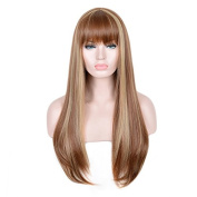 SiYi Long Light Brown Wig with Bangs Blonde Highlights Straight Synthetic Full Wig Heat Resistant Costume Wig for Women Girl