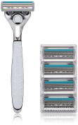 Schick Quattro Titanium Shaving Starter Gift Set for Men with 1 – Quattro Titanium Razor for Men and 4 – Quattro Titanium Razor Blade Refills for Men