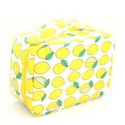 Ac.y.c Makeup Cosmetic Bag Toiletry Travel Kit Organiser-Multi-Function Cute Printed Pouch for Little Young Girl Yellow Lemon