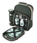 Green Picnic Backpack Hamper For Two People, Picnic Bag, Picnic Rucksack