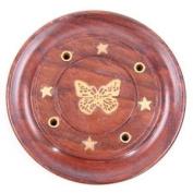 Sheesham Wood Round Ash Catcher - Butterfly Inlay. Incense Stick Holder.