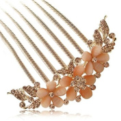 FINGER LOVE France Luxury Pearl Rhinestone Floral 6 Tooth Vantage Handmade French Twist Comb